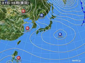 実況天気図(2014年02月01日)
