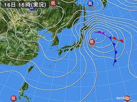 実況天気図(2014年02月16日)