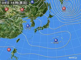実況天気図(2014年04月08日)
