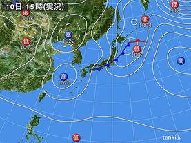 実況天気図(2014年04月10日)