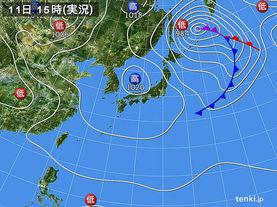 実況天気図(2014年04月11日)