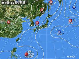 実況天気図(2014年08月04日)
