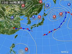 実況天気図(2014年09月13日)