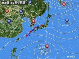 実況天気図(2014年10月02日)