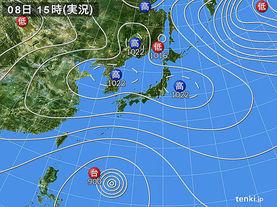 実況天気図(2014年10月08日)