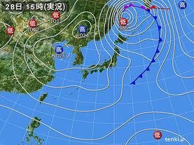 実況天気図(2014年10月28日)