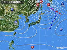 実況天気図(2014年11月13日)