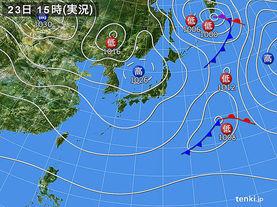 実況天気図(2014年11月23日)