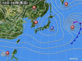 実況天気図(2014年12月10日)