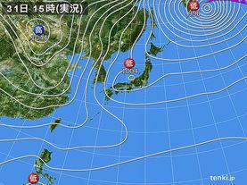 実況天気図(2014年12月31日)