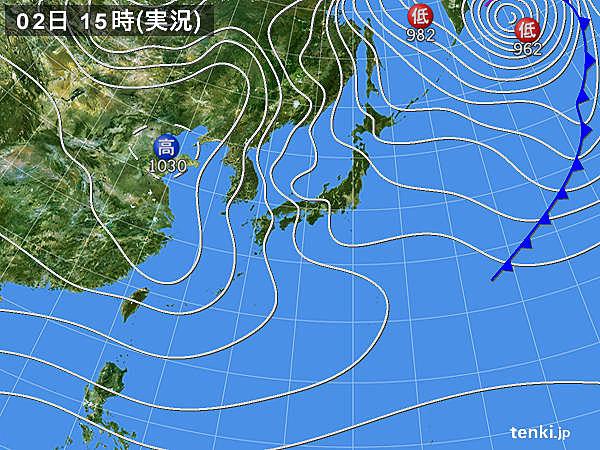 実況天気図(2015年01月02日)