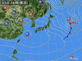 実況天気図(2015年01月03日)