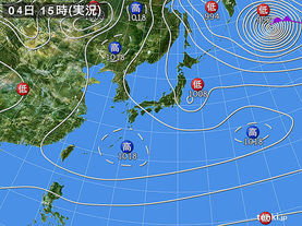 実況天気図(2015年01月04日)