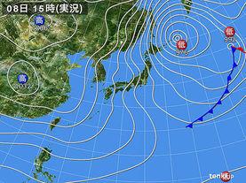 実況天気図(2015年01月08日)