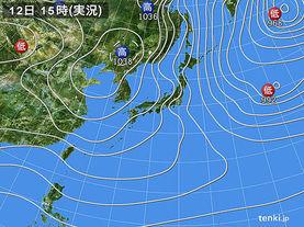 実況天気図(2015年01月12日)