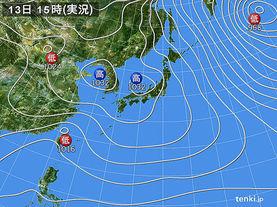 実況天気図(2015年01月13日)