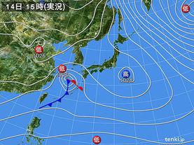 実況天気図(2015年01月14日)