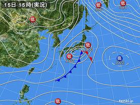 実況天気図(2015年01月15日)