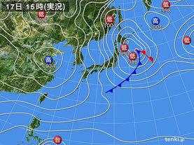 実況天気図(2015年01月17日)