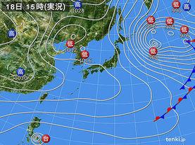 実況天気図(2015年01月18日)