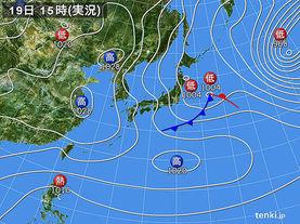 実況天気図(2015年01月19日)