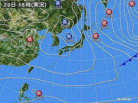 実況天気図(2015年01月20日)
