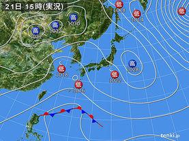 実況天気図(2015年01月21日)