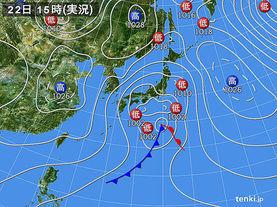 実況天気図(2015年01月22日)