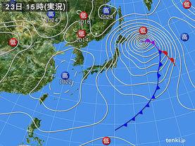 実況天気図(2015年01月23日)