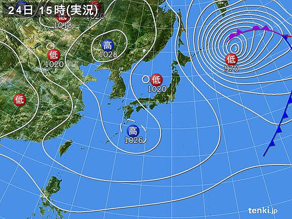 実況天気図(2015年01月24日)