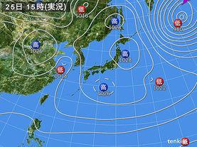 実況天気図(2015年01月25日)
