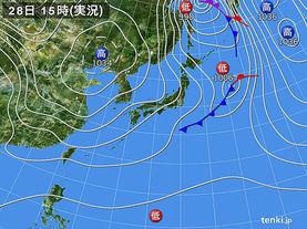 実況天気図(2015年01月28日)