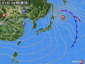 実況天気図(2015年02月01日)