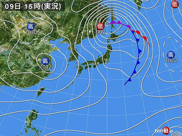 実況天気図(2015年02月09日)