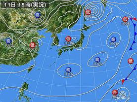 実況天気図(2015年02月11日)