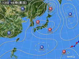 実況天気図(2015年02月12日)