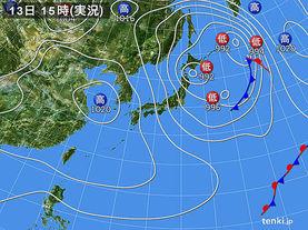 実況天気図(2015年02月13日)