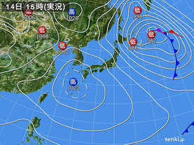 実況天気図(2015年02月14日)
