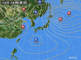 実況天気図(2015年02月15日)