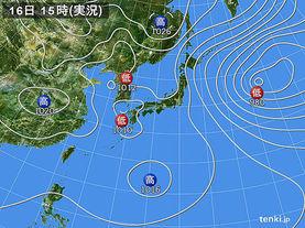 実況天気図(2015年02月16日)