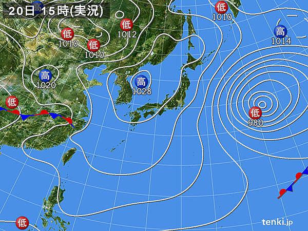 実況天気図(2015年02月20日)