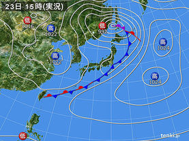 実況天気図(2015年02月23日)