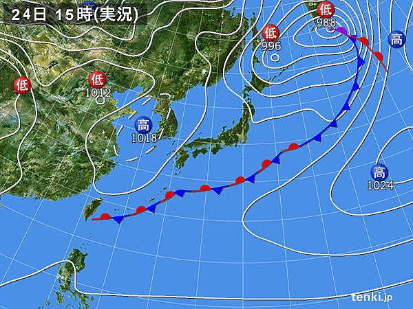 実況天気図(2015年02月24日)