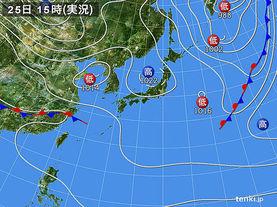 実況天気図(2015年02月25日)