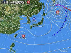 実況天気図(2015年02月28日)