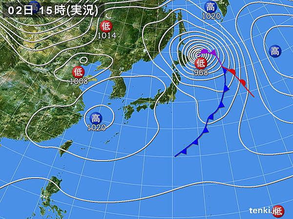 実況天気図(2015年03月02日)
