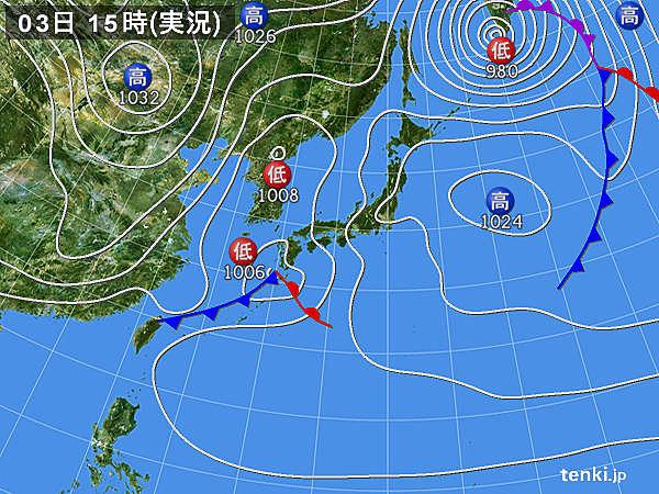 実況天気図(2015年03月03日)