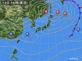実況天気図(2015年03月12日)