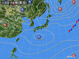実況天気図(2015年03月13日)