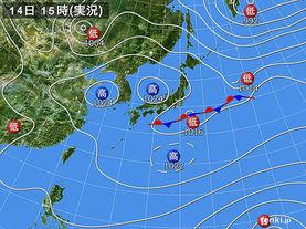 実況天気図(2015年03月14日)